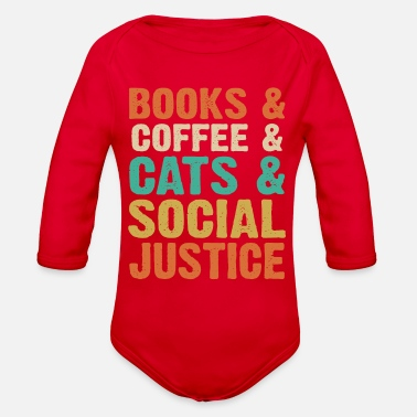 Social Books Coffee Cats Social Justice - Organic Long-Sleeved Baby Bodysuit