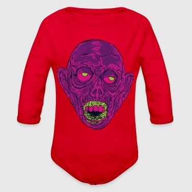 Graveyard Ghoul Ghastly Grape - Organic Long Sleeve Baby Bodysuit