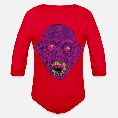 Ghastly Graveyard Ghoul Ghastly Grape - Organic Long Sleeve Baby Bodysuit