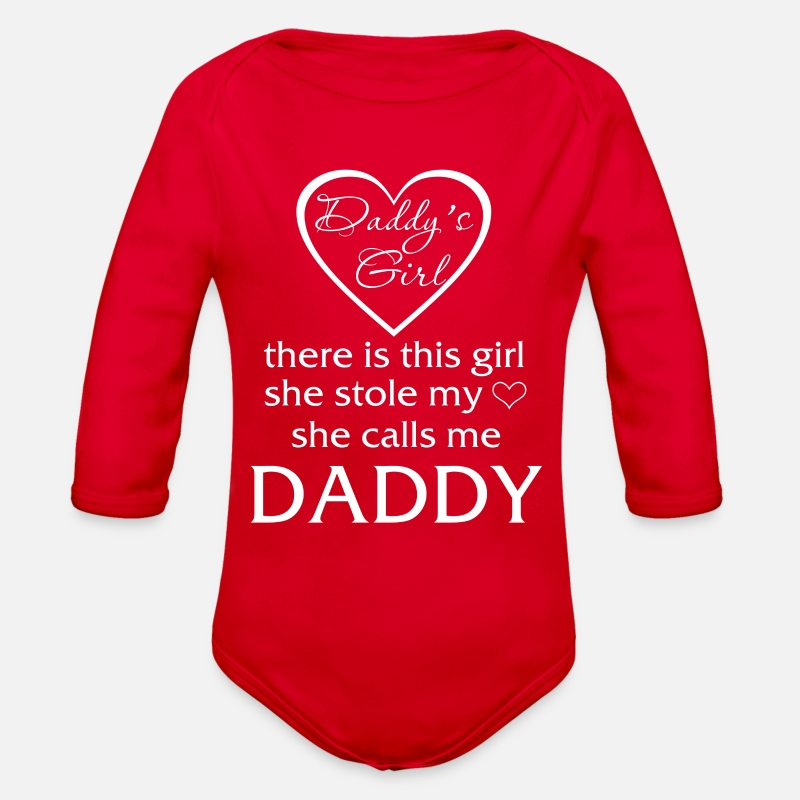 Girl Baby Clothing - Daddy Girl - Long-Sleeved Baby Bodysuit red