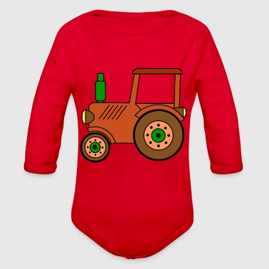 brown toy tractor / toy tractor - Organic Long Sleeve Baby Bodysuit