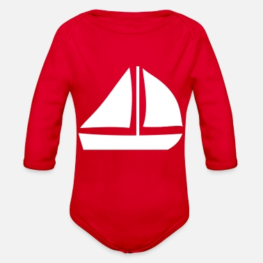 Sailing Boat Sail Boat with two sails - Organic Long Sleeve Baby Bodysuit