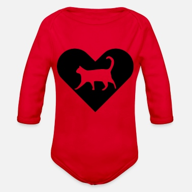 Heart-Cat (black) - Organic Long-Sleeved Baby Bodysuit