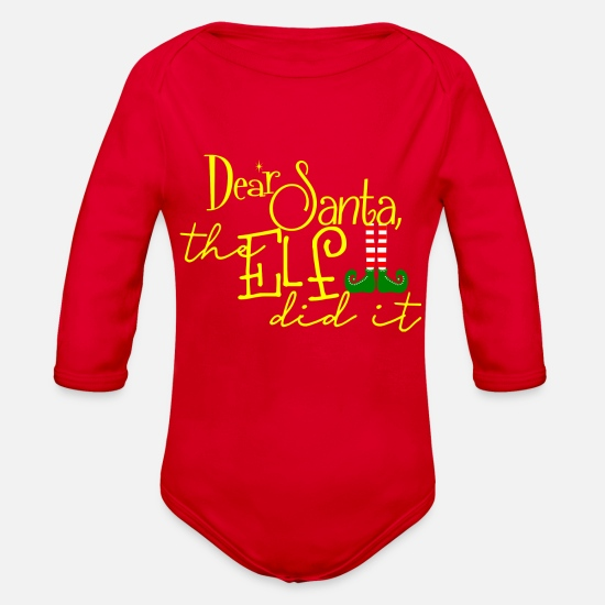 Christmas Baby Clothing - Christmas Elf Did It - Organic Long-Sleeved Baby Bodysuit red