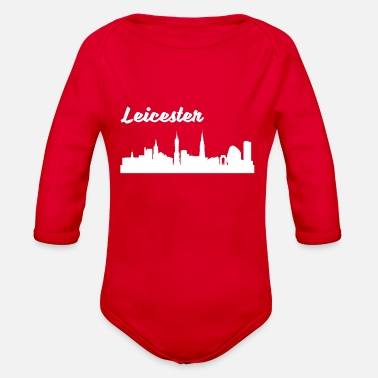 Leicester Leicester Skyline - Organic Long-Sleeved Baby Bodysuit