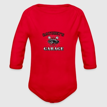 Ratchet Ratchet's Garage Tshirt Red Design - Organic Long Sleeve Baby Bodysuit