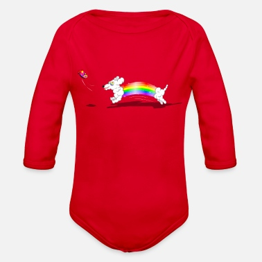 Chasing Rainbows Rainbow Dachshund Chasing a Butterfly - Organic Long-Sleeved Baby Bodysuit