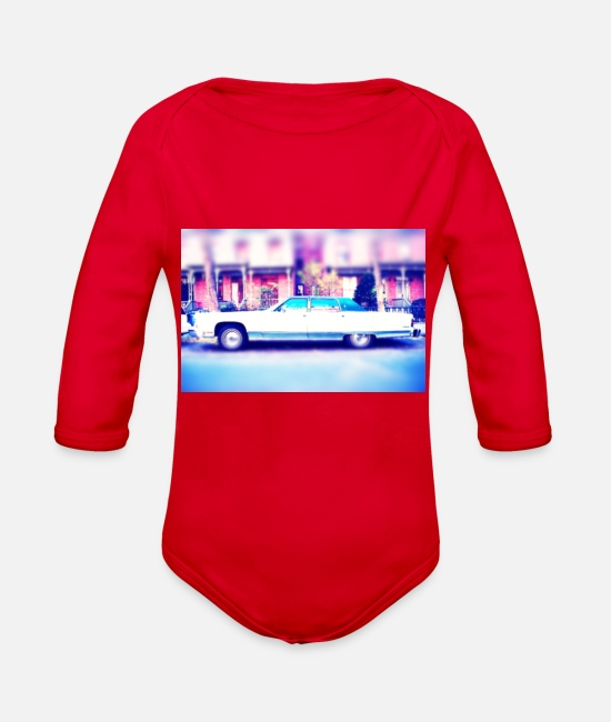 Us Cars Baby One Pieces - Vintage Limousine - Organic Long-Sleeved Baby Bodysuit red