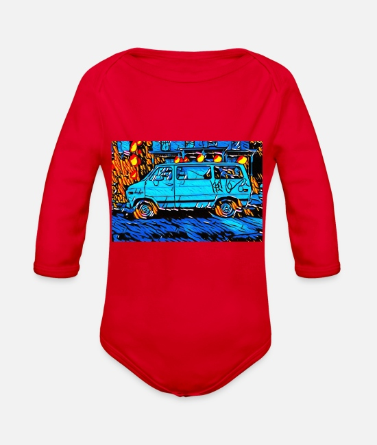 Us Cars Baby One Pieces - Van - Organic Long-Sleeved Baby Bodysuit red
