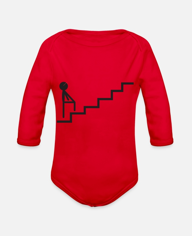 Calm Baby One Pieces - Stick The journey is still far away - Organic Long-Sleeved Baby Bodysuit red