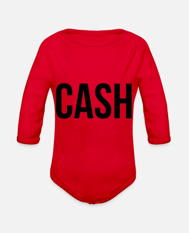 Cash Money Baby One Pieces - Cash - Organic Long-Sleeved Baby Bodysuit red
