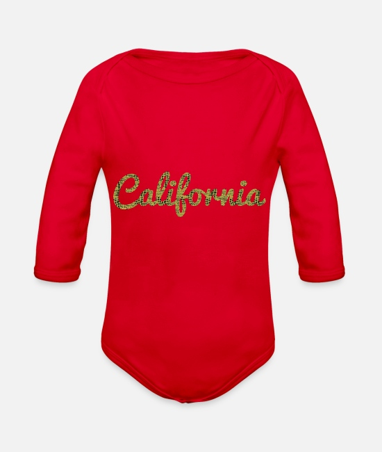 Travel Baby One Pieces - California - Organic Long-Sleeved Baby Bodysuit red
