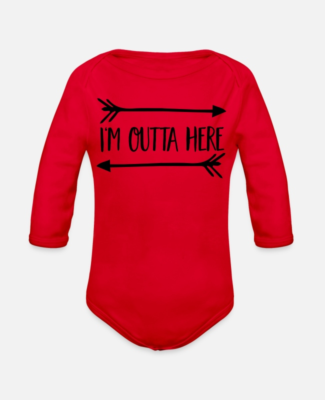 Travel Baby One Pieces - adventure - Organic Long-Sleeved Baby Bodysuit red