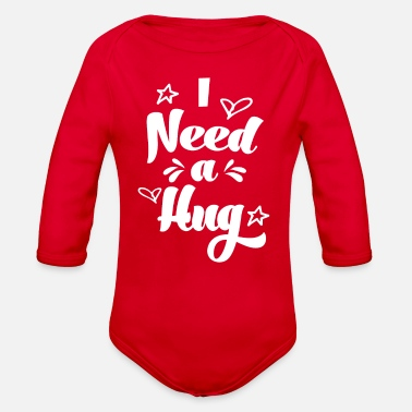 I need a hug baby shower baby announcement pregnan - Organic Long-Sleeved Baby Bodysuit