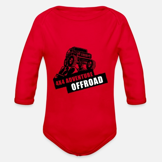 Offroad Vehicles Baby Clothing - Offroad Adventure - Organic Long-Sleeved Baby Bodysuit red