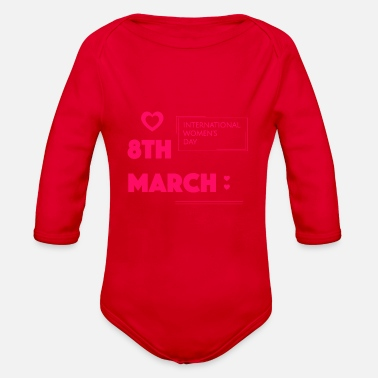 Birth Name Birth in march - Organic Long-Sleeved Baby Bodysuit