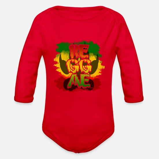 Reggae Baby Clothing - REGGAE - Organic Long-Sleeved Baby Bodysuit red