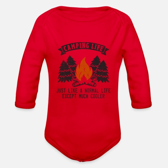 Campfire Baby Clothing - Camping Life Like Normal Except Much Cooler Gift - Organic Long-Sleeved Baby Bodysuit red