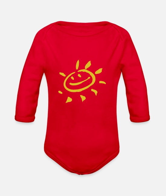 Water Baby One Pieces - Sunshine - Organic Long-Sleeved Baby Bodysuit red