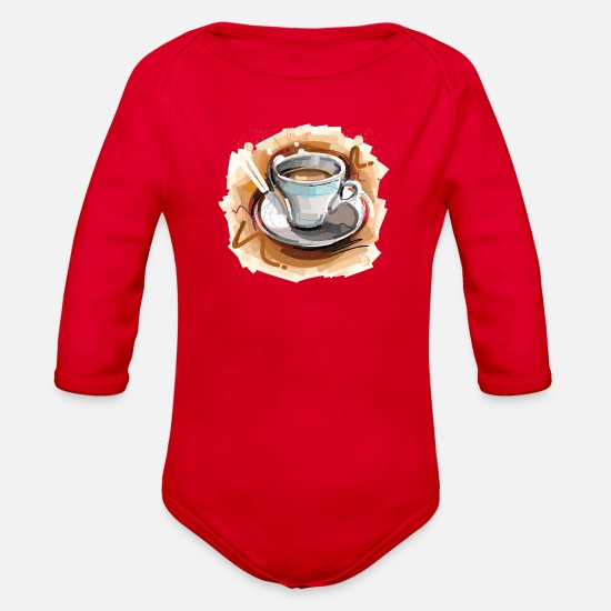 Image Baby Clothing - Cool coffee drink sketch vector image illustration - Organic Long-Sleeved Baby Bodysuit red