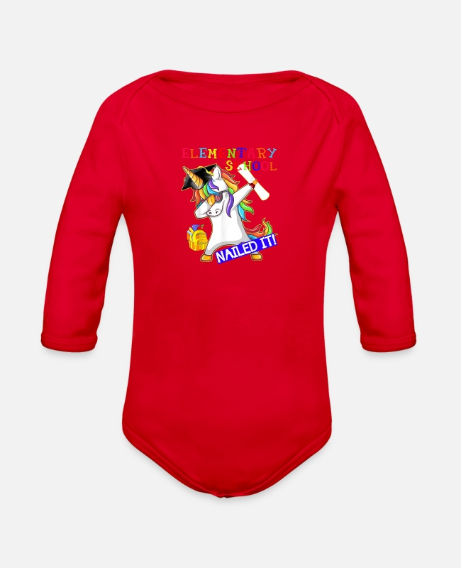 School Class Baby One Pieces - Dabbing Unicorn Elementary School Nailed It Gradua - Organic Long-Sleeved Baby Bodysuit red