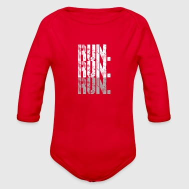 Running run run run grey - Organic Long Sleeve Baby Bodysuit
