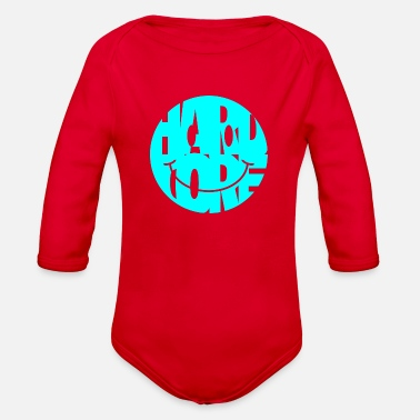 Happy Hardcore hardcore smiley turquoise - Organic Long-Sleeved Baby Bodysuit