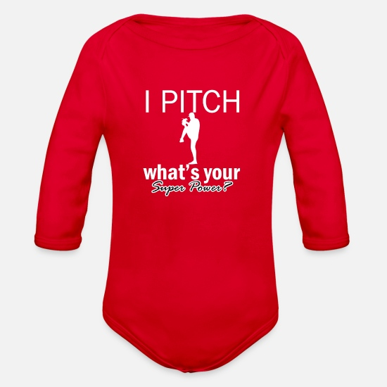 Pitch Baby Clothing - pitch design - Organic Long-Sleeved Baby Bodysuit red