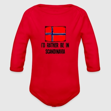 I'd Rather Be In Scandinavia - Organic Long Sleeve Baby Bodysuit