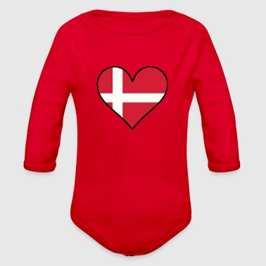 Danish Flag Heart - Organic Long Sleeve Baby Bodysuit