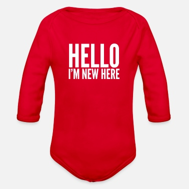 Hello Hello I'm new here - Organic Long-Sleeved Baby Bodysuit