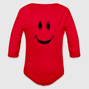 happiness face - Organic Long Sleeve Baby Bodysuit