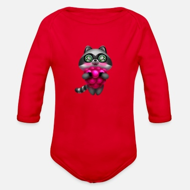 Raccoon Raccoon with raspberries - Organic Long Sleeve Baby Bodysuit
