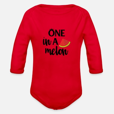 Melon one in a melon - Organic Long Sleeve Baby Bodysuit
