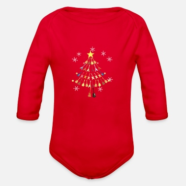 Guitars Christmas Tree Snow Gift Star Note - Organic Long-Sleeved Baby Bodysuit