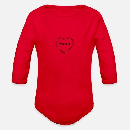 Love Baby Clothing - Paw Heart Wuff - Organic Long-Sleeved Baby Bodysuit red