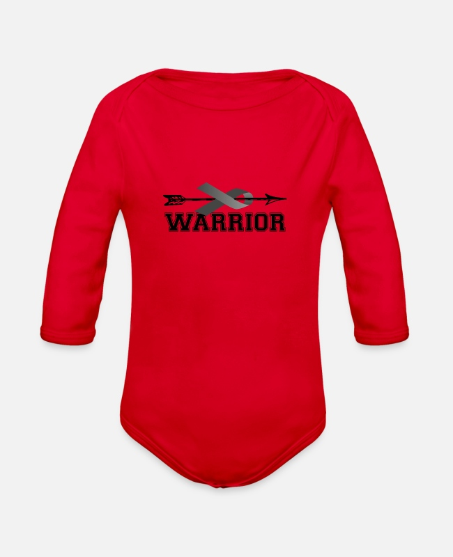 Brain Baby One Pieces - Warrior Brain Cancer Grey Ribbon Awareness Grey - Organic Long-Sleeved Baby Bodysuit red