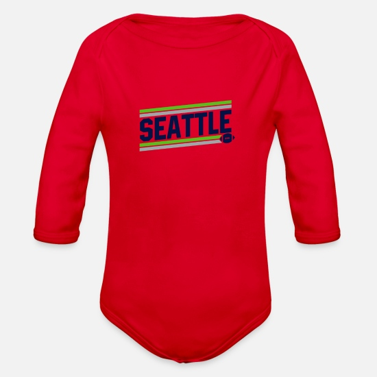 Seattle Baby Clothing - Seattle Football - Organic Long-Sleeved Baby Bodysuit red