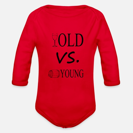 Young Baby Clothing - old vs young - Organic Long-Sleeved Baby Bodysuit red