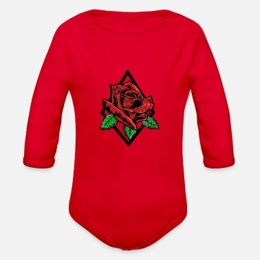 Rose Rose Tattoo Rose Big Rose - Organic Long Sleeve Baby Bodysuit