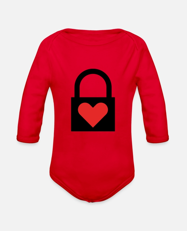 Heart Baby One Pieces - Heart-Lock (closed) - Organic Long-Sleeved Baby Bodysuit red