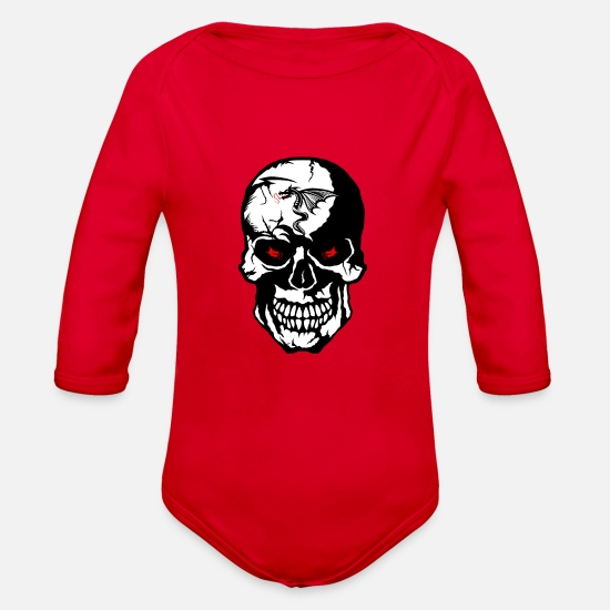Dragon Head Baby Clothing - skull tribal dragon - Organic Long-Sleeved Baby Bodysuit red