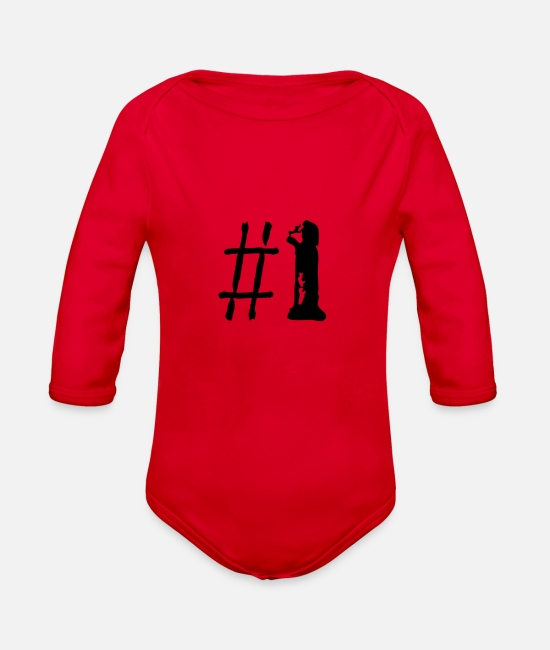 Number One Baby One Pieces - Number One - Organic Long-Sleeved Baby Bodysuit red