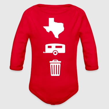 Trailer Trash Texas Trailer Trash (Icons - Vertical/Light Color) - Organic Long Sleeve Baby Bodysuit
