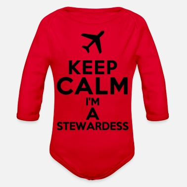 Stewardess KEEP CALM I'm A STEWARDESS - Organic Long Sleeve Baby Bodysuit