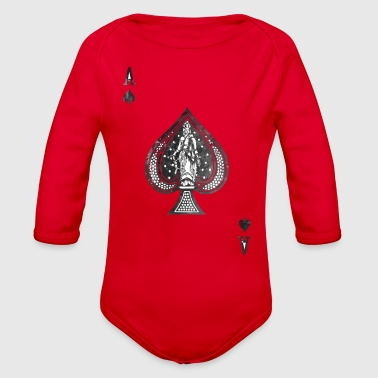 Vintage faded ace of spades - Organic Long Sleeve Baby Bodysuit