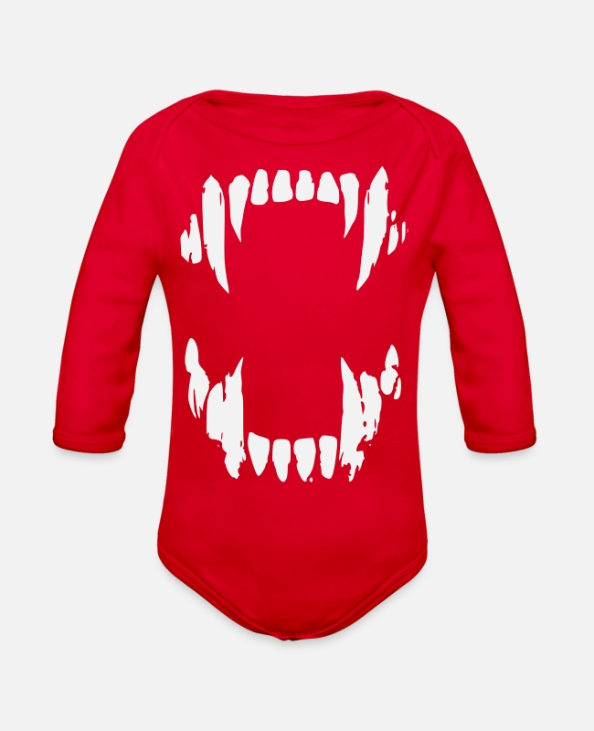 Trendy Baby One Pieces - Bear Teeth - Organic Long-Sleeved Baby Bodysuit red