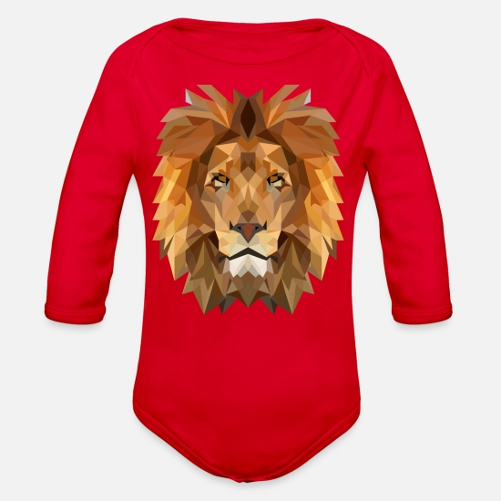Lion Head Baby Clothing - Abstract polygonal lion head - Organic Long-Sleeved Baby Bodysuit red