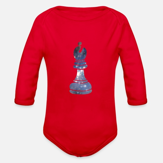 Checkmate Baby Clothing - Bishop Chess Piece Starry Night Galaxy Gift - Organic Long-Sleeved Baby Bodysuit red