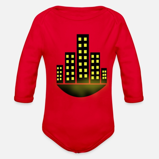New Baby Clothing - city - Organic Long-Sleeved Baby Bodysuit red